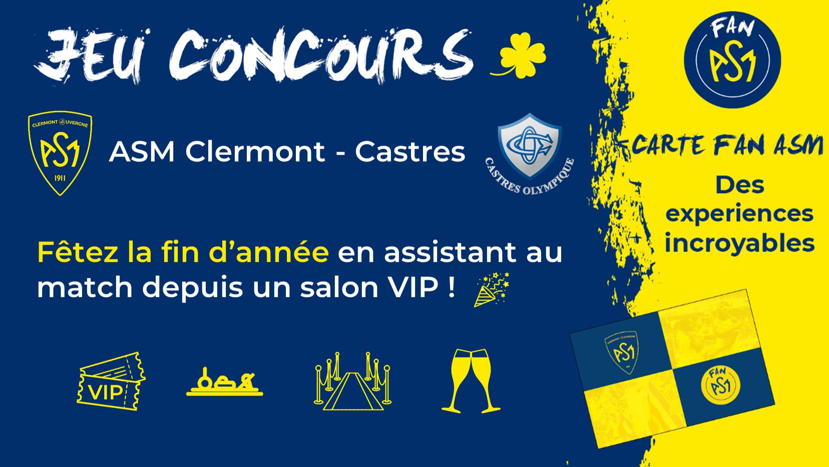 Gagne 2 places en salon VIP pour ASM CA vs Castres